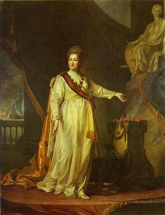 Oil painting:Portrait of Catherine II as Legislator in the Temple of the Goddess of Justice. 1783