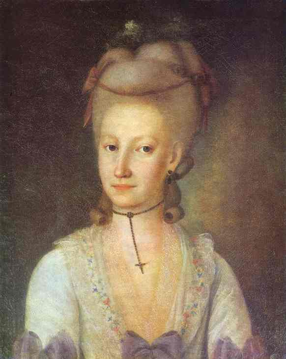 Oil painting:Portrait of Elizaveta Cherevina. 1780