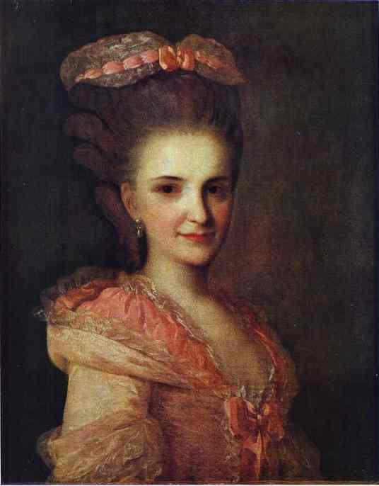 Oil painting:Portrait of an Unknown Lady in a Pink Dress. 1770