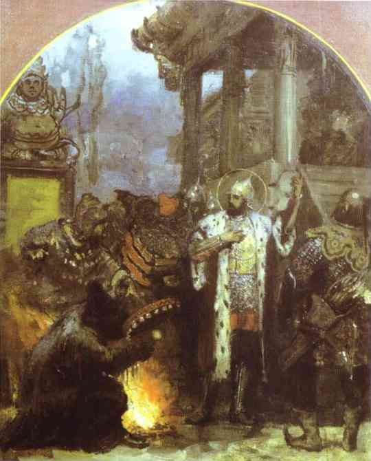 Oil painting:Prince Alexander Nevsky in Gold Horde. Sketch for the mural of the Cathedral of Christ