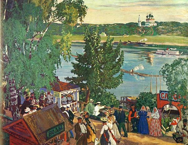 Oil painting: Promenade Along the Volga. 1909