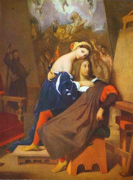 Oil painting:Raphael and Fornarina. 1813-1840