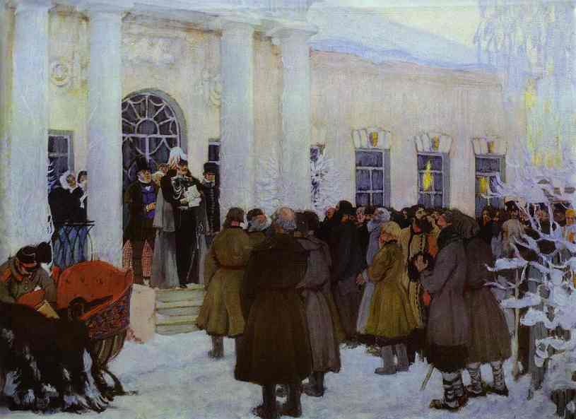 Oil painting: Reading of the Manifest. 1908-1909