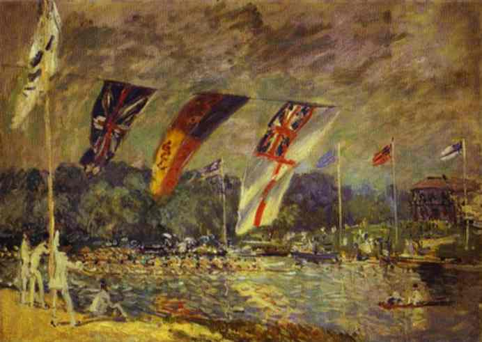 Oil painting:Regattas at Molesey. 1874