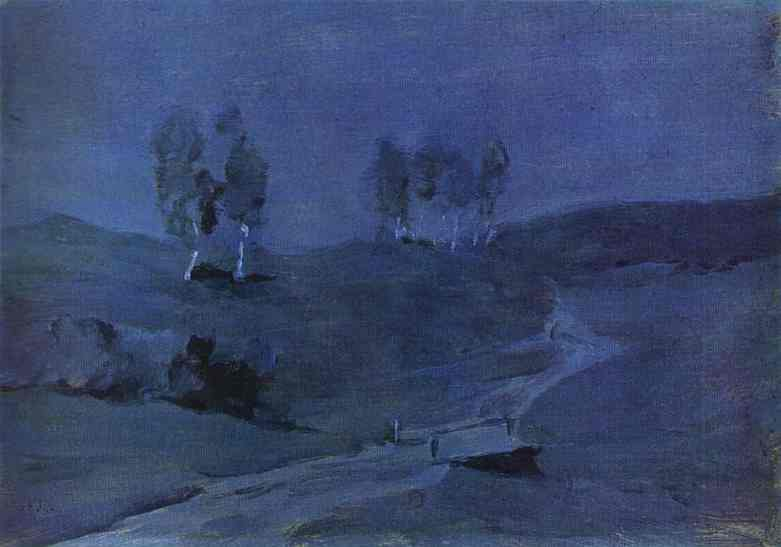Oil painting:Shadows. Moonlit Night. 1880