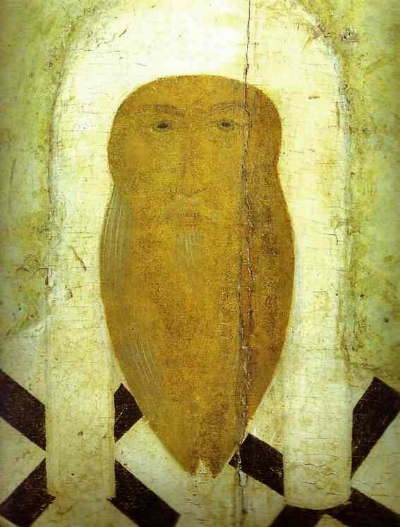 Oil painting:St. Alexius, Metropolitan of Moscow, with Scenes from His Life. Detail.