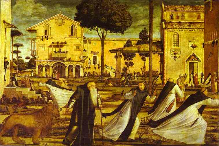 Oil painting:St. Jerome Leads the Lion into the Monastery. 1502