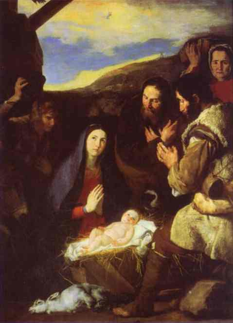 Oil painting:The Adoration of the Shepherds. 1650