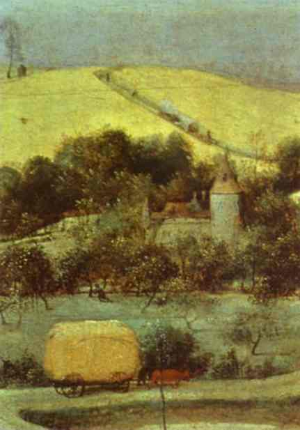 Oil painting:The Corn Harvest (August). Detail. 1565