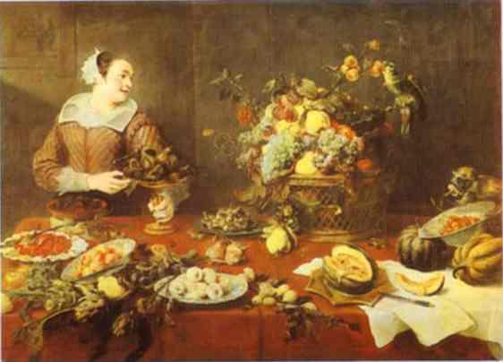 Oil painting:The Fruit-Seller. Before 1636
