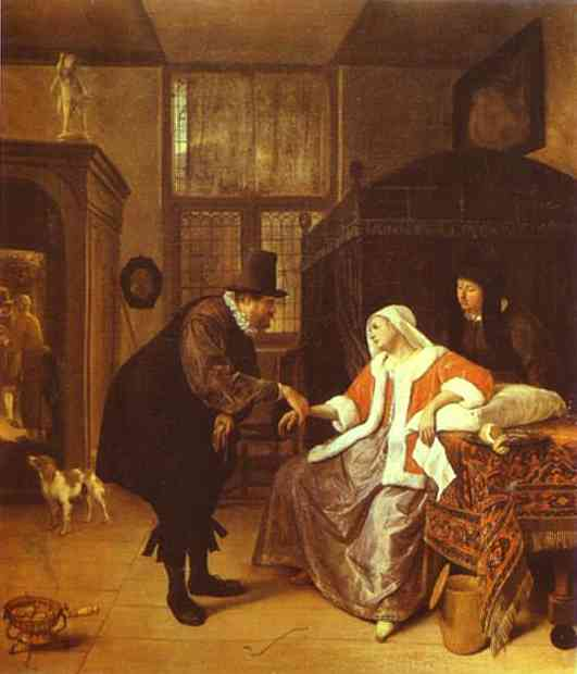 Oil painting:The Lovesick Woman. c. 1660