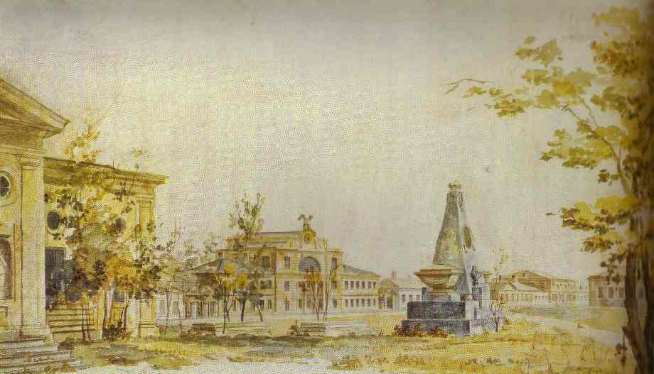 Oil painting:Town Square in Kherson. 1796