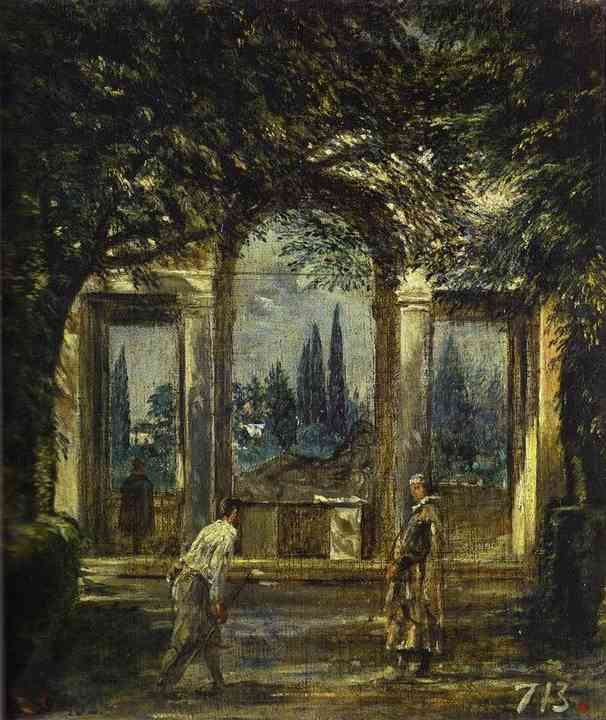 Oil painting:Villa Medici in Rome (Facade of the Grotto-Logia). 1630