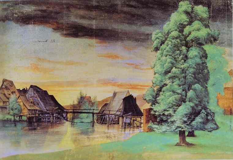 Oil painting:Willow Mill. 1496