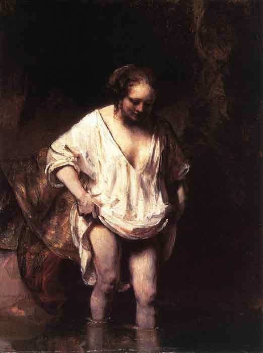 Oil painting for sale:Hendrickje Bathing in a River, 1654