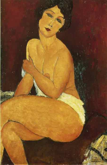 Oil painting for sale:Seated Nude on Divan, 1917