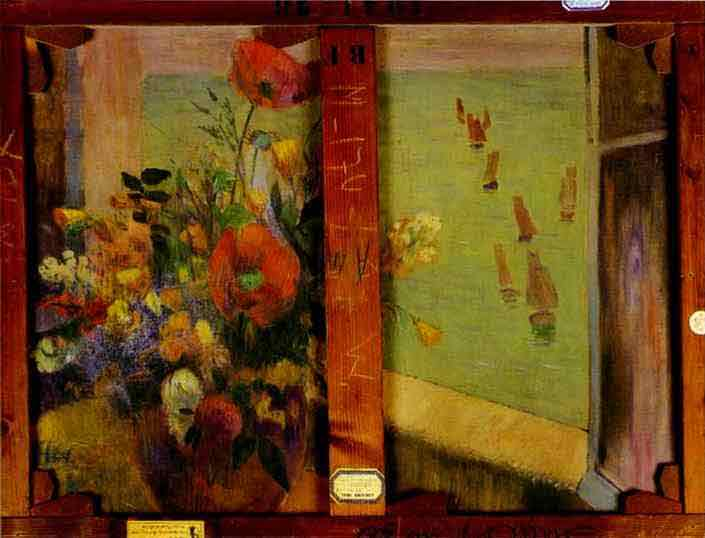 Bouquet of Flowers with a Window Open to the Sea (Reverse of Hay-Making in Brittany). 1888