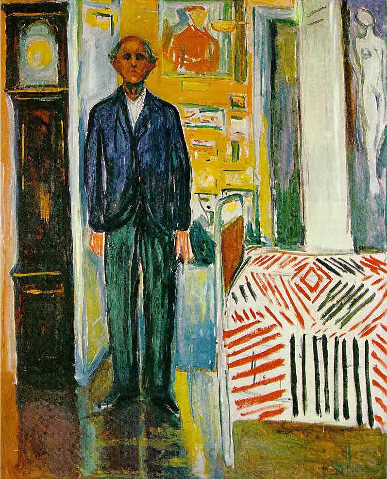 Self Portrait: Between Clock and Bed