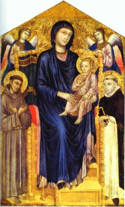 Oil painting:Madonna and Child Enthroned with Two Angels and St. Francis and St. Dominic.
