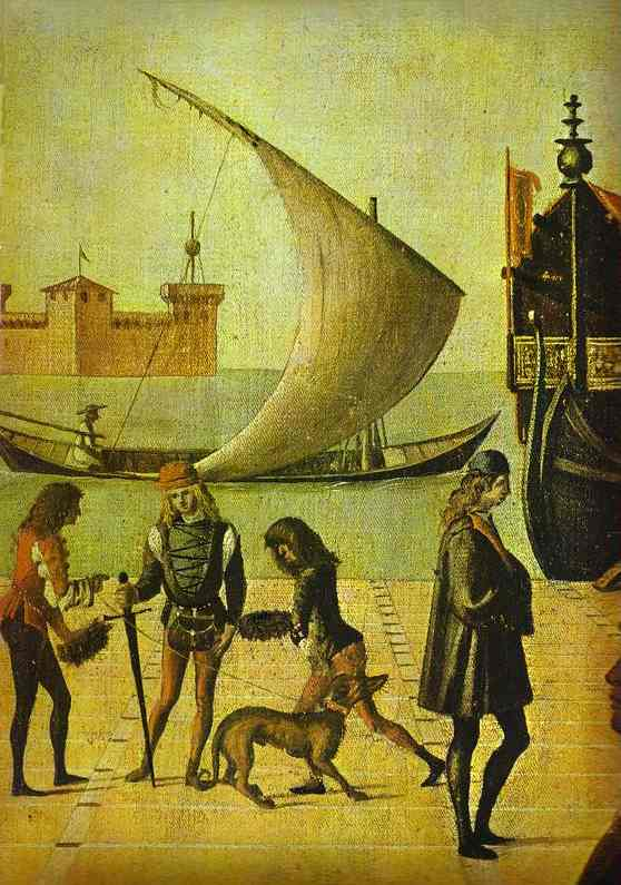 Oil painting:The Legend of St. Ursula: The Arrival of the English Ambassadors. Detail. 1495