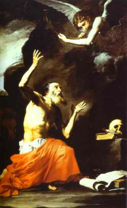 Oil painting:St. Jerome and the Angel of Judgment. 1626