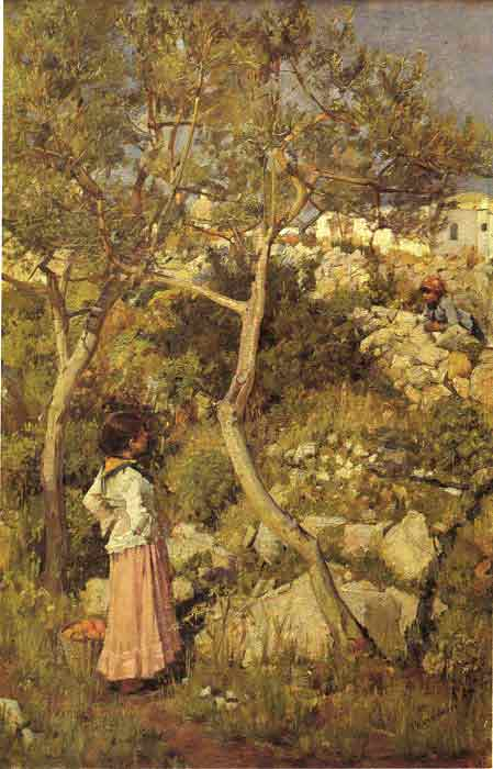 Oil painting for sale:Two Little Italian Girls by a Village, c.1875