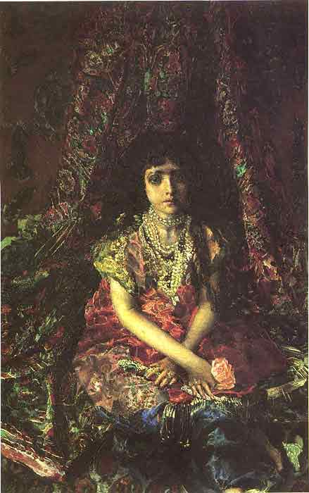 Oil painting for sale:Portrait of a Girl Against a Persian Carpet, 1886