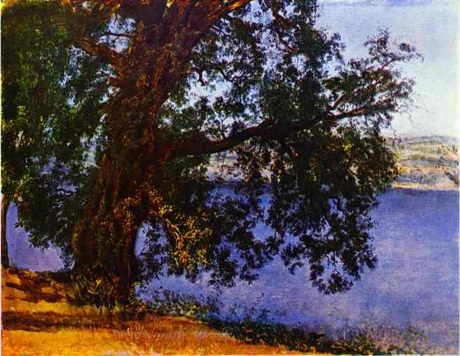 Oil painting:A Tree over Water in the Vicinity of Castel-Gandolfo. 1840