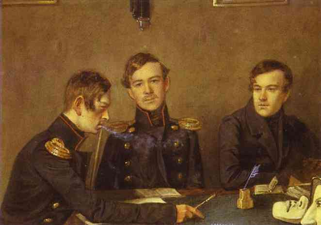 Oil painting:Andrey, Grigoriy and Alexander Druzhinin. 1840