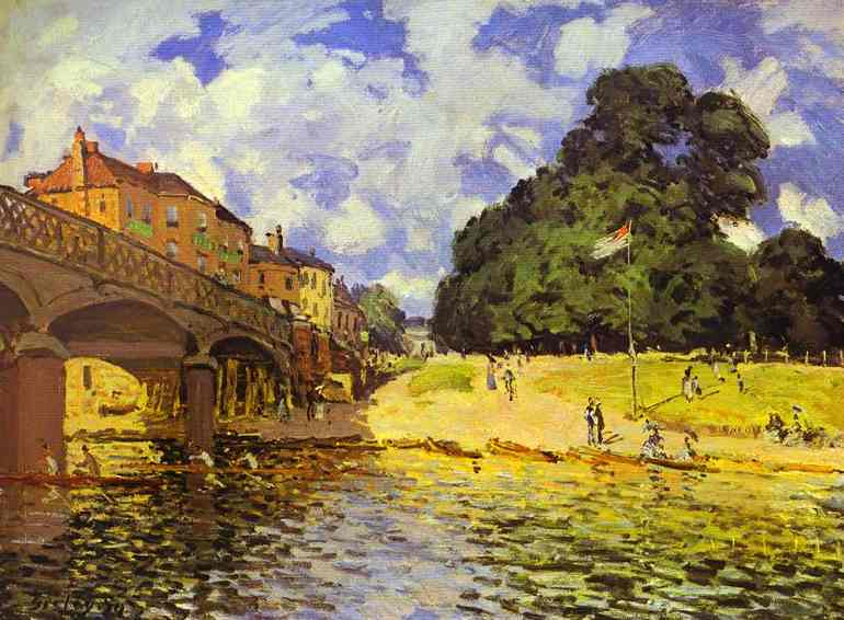 Oil painting:Bridge at Hampton Court. 1874