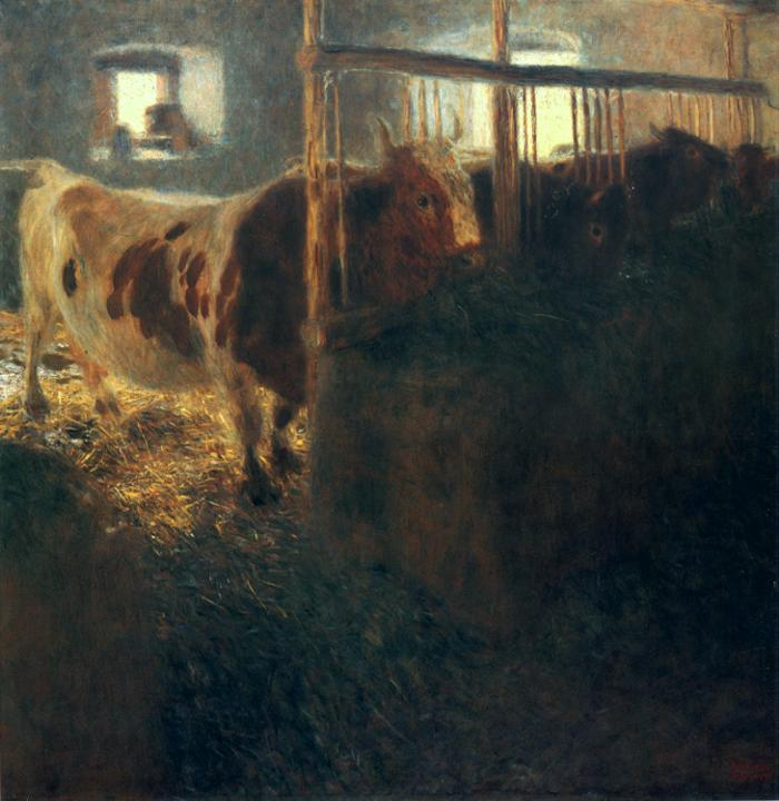Oil painting:Cows in a Stall. 1900