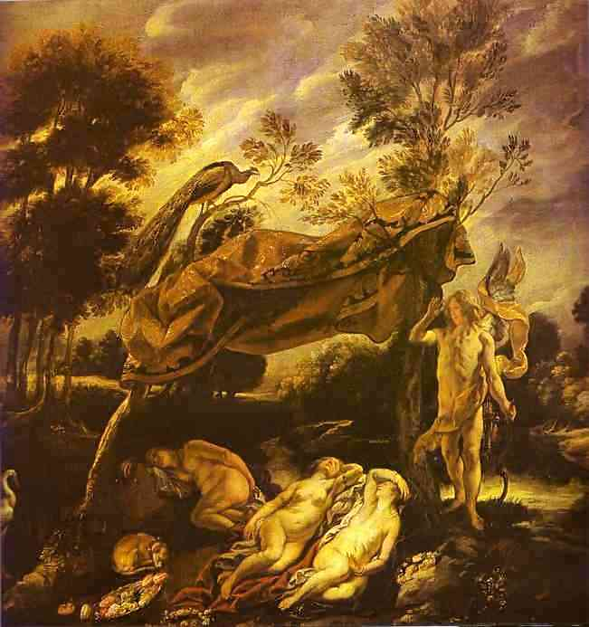 Oil painting:Cupid and Sleeping Nymphs.