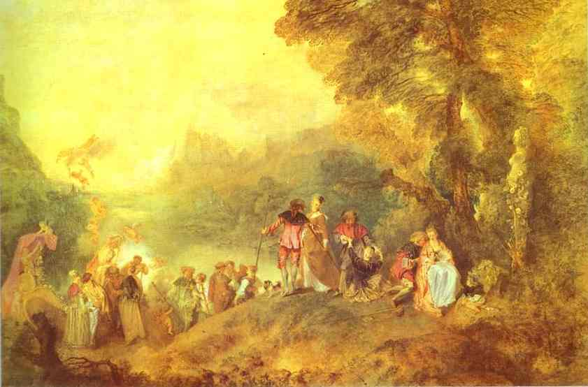 Oil painting:Embarkation for Cythera, or The Pilgrimage to Cythera. 1717