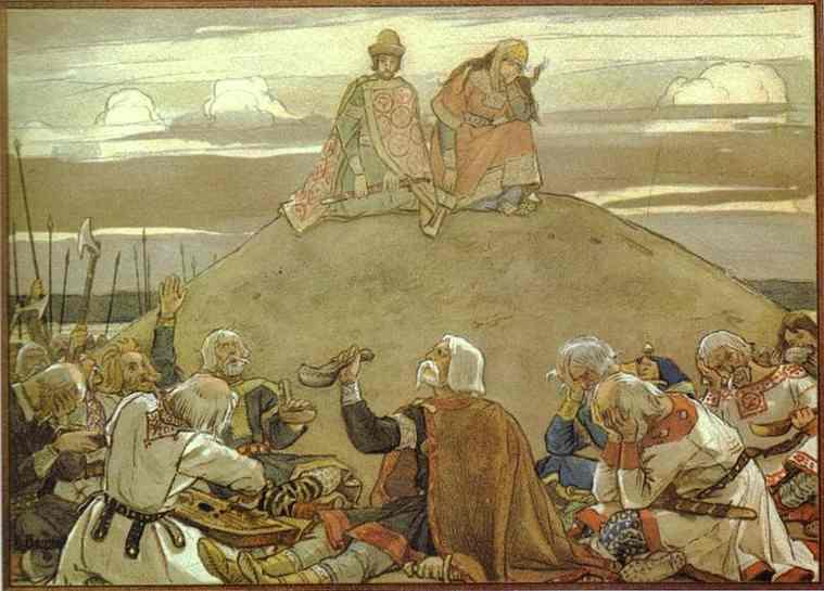 Oil painting:Funeral Feast for Oleg. 1899