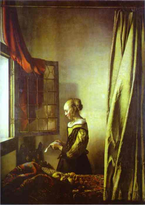 Oil painting:Girl Reading a Letter at an Open Window. c.1657