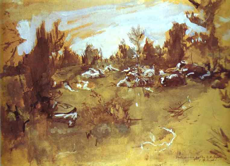 Oil painting:Herd. 1890