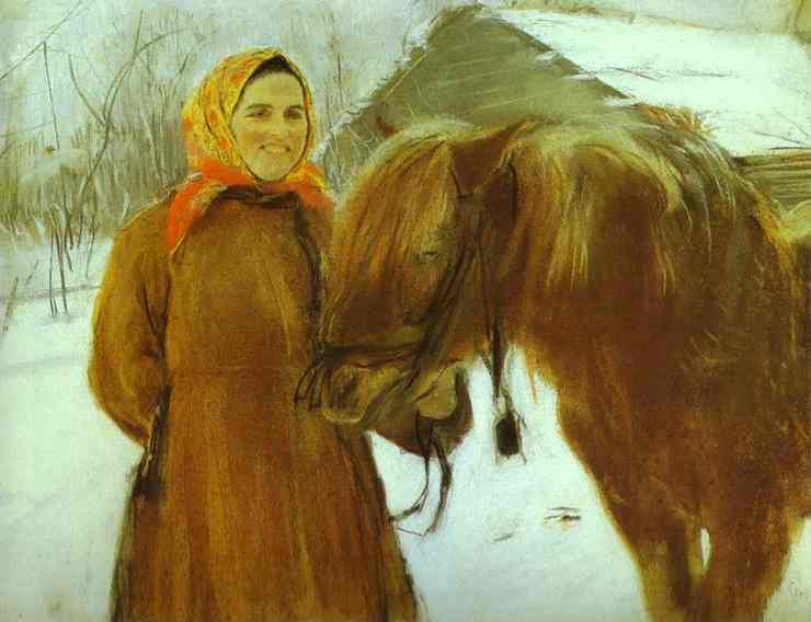 Oil painting:In a Village. Peasant Woman with a Horse. 1898