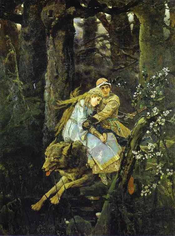 Oil painting:Ivan Tsarevich Riding the Grey Wolf. 1889