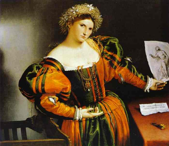 Oil painting:Lady with a Drawing of Lucretia. c. 1530