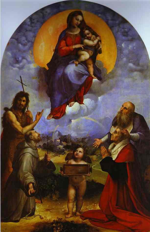 Oil painting:Madonna di Foligno. c.1511