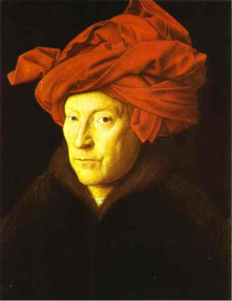 Oil painting:Man in a Red Turban. 1433