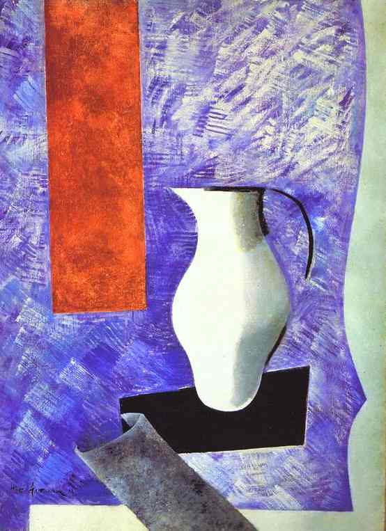 Oil painting:Material Painting. Still Life with a White Jug. 1919