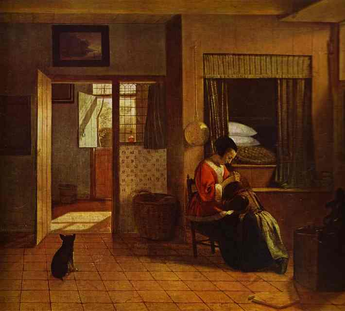 Oil painting:Motherly Care. c. 1660