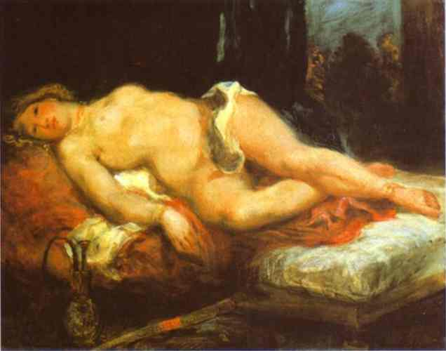 Oil painting:Odalisque Reclining on a Divan. c.1827