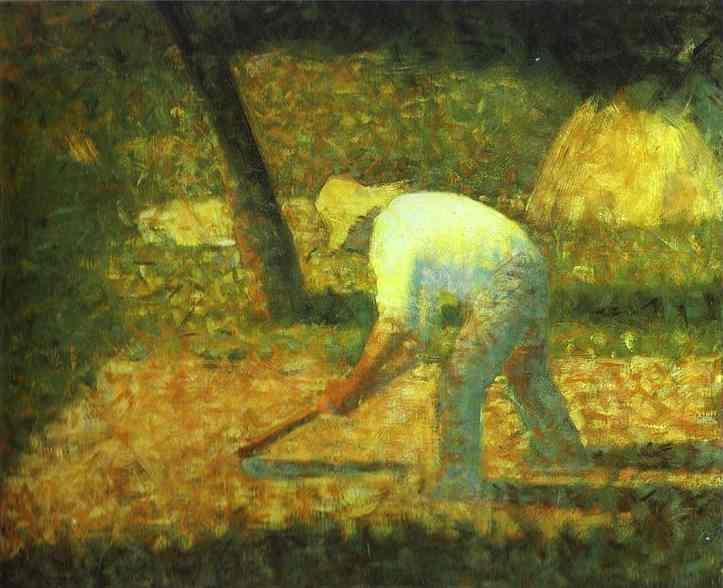 Oil painting:Peasant with a Hoe. c. 1882
