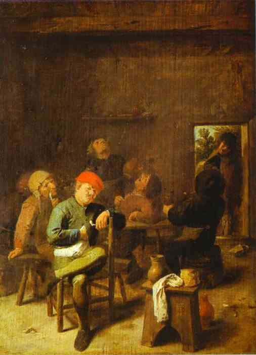 Oil painting:Peasants Smoking and Drinking. c. 1635