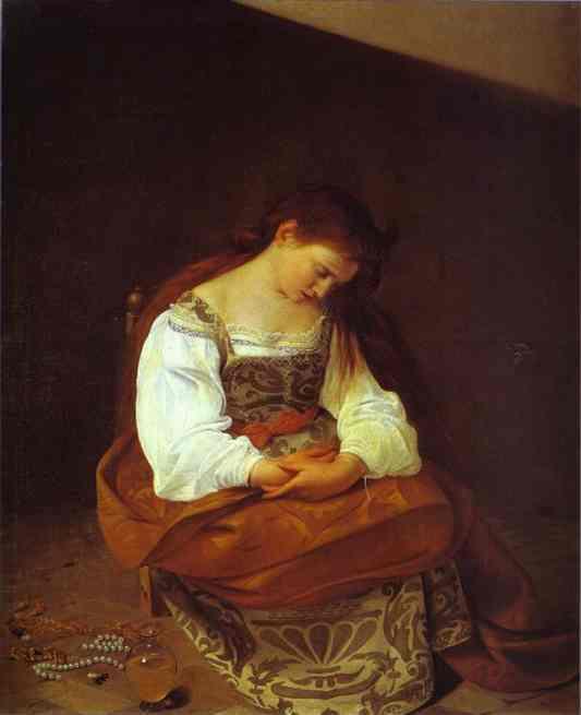 Oil painting:Penitent Magdalene. c.1593