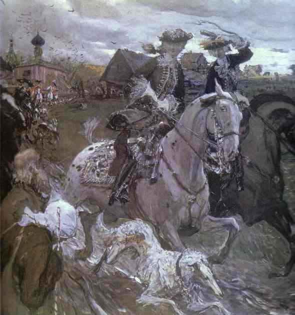 Oil painting:Peter II and Princess Elizabeth Petrovna Riding to Hounds. 1900
