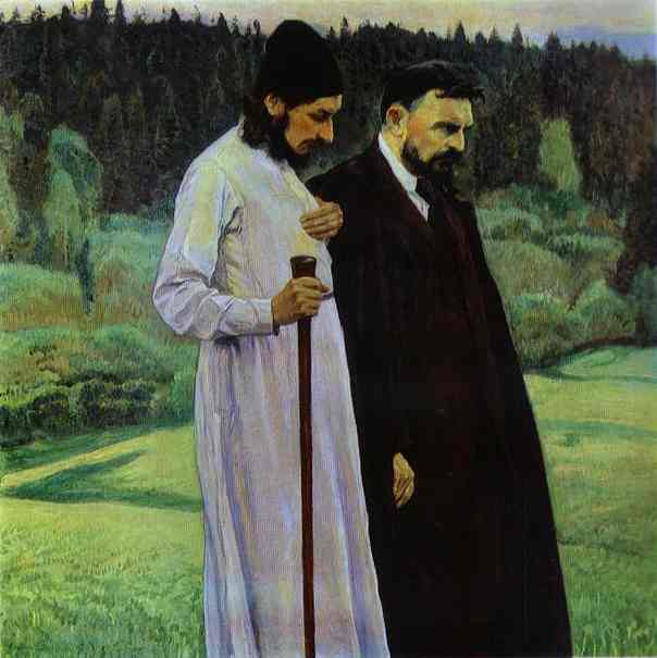 Oil painting:Philosophers (Portrait of Pavel Florenskiy and Sergey Bulgakov). 1917