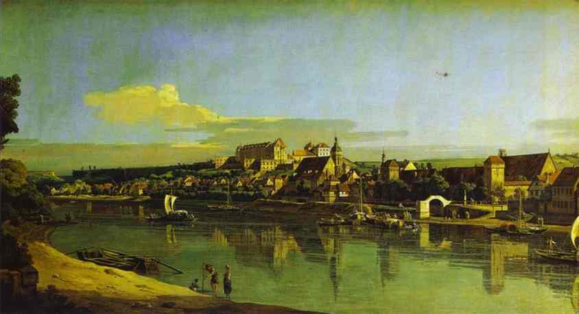 Oil painting:Pirna Seen from the Right Bank of the Elbe. 1747